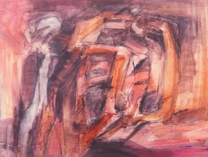 Grace Renzi : N° 106 : 1968, colored + black ink, 50 x 65 cm.